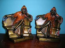 Antique Dante poet literature bookends Galvano Bronze orig paint great condition