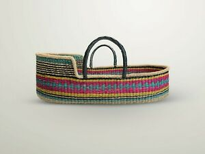 Handwoven Baby Moses Basket Ethically sourced fair trade plus mattressbright