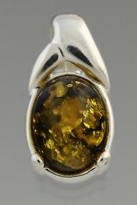 Glittering Green Genuine BALTIC AMBER Silver Pendant  0.8g 181220-12