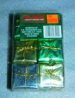 Woolworth Christmas Holiday 6 Presents Set Green Gold Silver Gifts Decoration