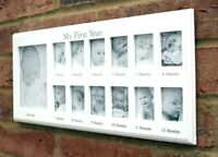 Baby My First Year 12 Month 13 Photo White Hanging Photo Frame Wall Wood BB0033