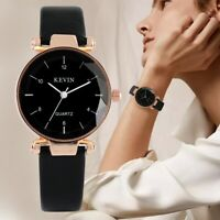 Women's Quartz Watches Ladies Leather Band Strap Crystal Analog Dial Steel Case