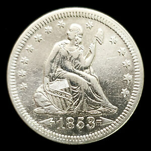 1853 w/ Arrows + Rays Silver Seated Liberty 25C AU Details/Cleaned - No Reserve