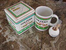 """GOLFERS EXCEL AT """"FORE"""" PLAY-Ceramic MUG-CUP / Box & Golf Ball Tooth Pick Holder"""