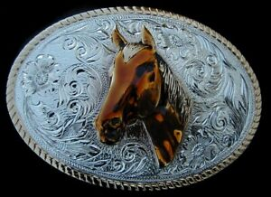 WESTERN STYLE HORSE BELT BUCKLE VINTAGE 1980'S STERLING SILVER/GOLD PLATED