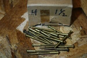 "#4 x 1-1/2"" Round Head Brass Wood Screws - R&P - NOS 20pcs #ps303"
