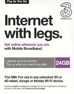 UK Three Mobile Broadband Data SIM Card with 24GB for 24 months use