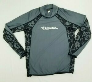 Xcel Size 2XL Surfing Shirt UV Shield Women's Gray Floral Long Sleeve Turtleneck