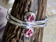 TOE RING STERLING SILVER 925 PINK STONE ADJUSTABLE DOUBLE BAND MIDI womens NEW
