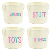 Pink Printed Canvas Storage Tub - Bag Basket Box Laundry Toys Kids Girls Bedroom