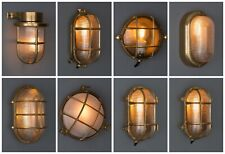 GOLD BULKHEAD LIGHT - Indoor / Outdoor Industrial Wall Light Solid Brass IP64