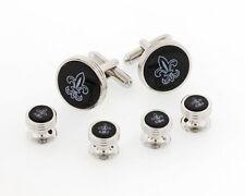 Silver Plated Formal Cufflinks and Shirt Studs w/Onyx Etched Fleur de Lis Symbol