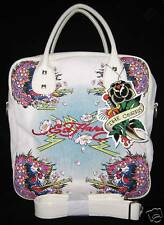 Ed Hardy White Ines Beautiful Ghost Large Travel Gym Tote Bag Purse New