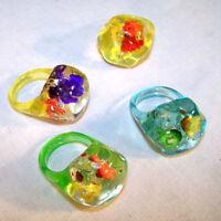 12 FLOWER LUCITE RINGS kid costurme jewelry ring ladies bulk lot fake flowers