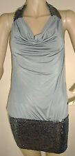Nouveau Femme Argent / Gris Lili dos-nu paillettes col boule robe taille 12