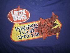 VANS WARPED TOUR 2012 CONCERT T SHIRT Tee Purple V-Neck 2-Sided Cities Medium