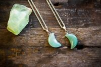 Aventurine Necklace Polished Jewellery Moon Crystal Healing Jade Crescent