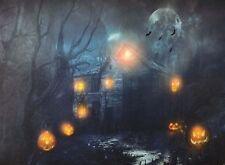 HAPPY HALLOWEEN LED Haunted Wood House Petrified Forest Evil Pumpkin Canvas Art