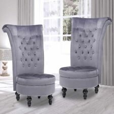 Set of 2 Velvet Accent Chair Upholstered High Back Living Room Furniture Gray