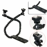 Dual-arm Dual-shoe Flash Bracket Holder Mount Flexible Macro Shot Fr DSLR Camera