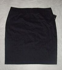 L skirt womens solid black rear zip back slit vent pencil 12 summer large career