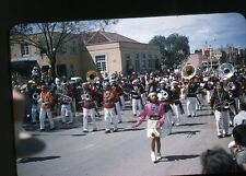 1950s red Kodachrome photo slide Indian Parade USA Flag Gallup NM Navajo Band