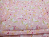 "Dolls Cot / Pram Bedding set Quilt & Pillow Pink Unicorn print 16"" x 14"""