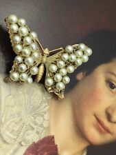 Butterfly With Faux Pearls Stunning Antique Gold Tone Brooch