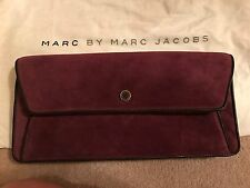 *NEW* MARC BY MARC JACOBS BURGUNDY PURPLE SUEDE LEATHER CLUTCH NET A PORTER