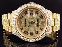 18K Mens Full Diamond Yellow Gold Rolex Presidental Day-Date 36MM Diamond Watch
