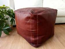 Leather Square Dark tan Pouf, White Stitching 100% Moroccan handmade Footstool