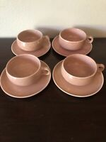 Russel Wright American Modern Steubenville Coral Coffee Tea Cups Saucers Pottery
