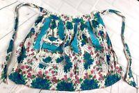 Vintage 1950's Waist Apron Handmade Blue Pink Floral Tie Waist Pocket Pretty