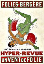 L'ARTE Annuncio Folies Bergère Giuseppina Baker iper-REVUE 1927 Deco Poster stampati