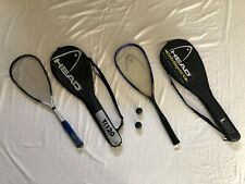 Head Ti120 & i130 Squash Racquet Bundle - 2 Racquets, Carrying Cases, & Balls