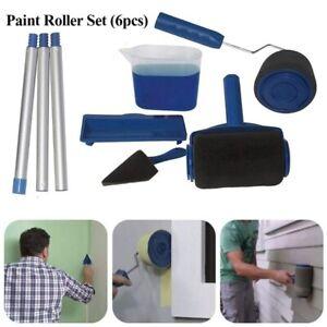 6PCS Paint Roller Brush Set Runner Pro Handle Household Use Wall Edger Painting