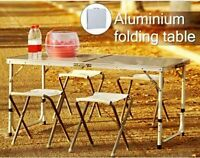 Aluminum Folding Table 4'Portable Outdoor Picnic Party Camping Table+4x Stools A