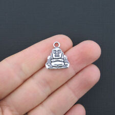 BULK 30 Buddha Charms Antique Silver Tone 2 Sided - SC1879