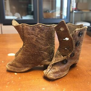 Antique Brown Leather Heeled Doll Shoes for Lady Doll