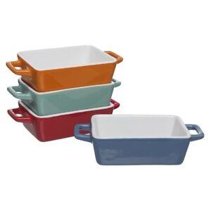 4x Set Ceramic Medium Stoneware Rectangular Oven to Table Serving Baking Dish