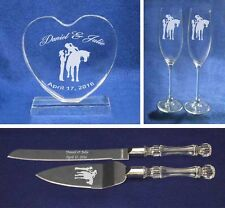 Crystal Western Cowgirl Cowboy Horse Wedding Cake Topper glasses knife Engrave