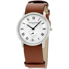 Frederique Constant Slimline Silver Dial Leather Strap Mens Watch FC235M4S6BROWN