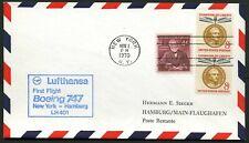 Lufthansa 1970 1st Flight Cover - B747 - New York to Hamburg