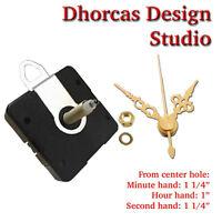 "(#017) Quartz Clock quiet motor 3/4"" thread LONG SHAFT HANGER & 1 1/4"" gold hand"