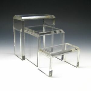 """Square Acrylic Heavy-duty Acrylic Riser Stands (3/8"""" thick) Museums Galleries"""