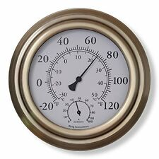 """Bjerg Instruments Antique Brass 8"""" Decorative Indoor / Outdoor Thermometer and H"""