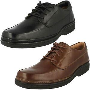 Hombre Clarks con Cordones Piel Negra Ancho Ajuste Informal Zapatos de Trabajo