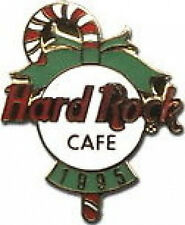 Hard Rock Cafe 1995 Christmas PIN Candy Cane Green Bow Red/White Logo HRC #3457
