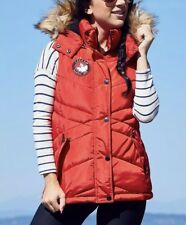 $160 S M CANADA WEATHER GEAR RED PUFFER VEST FAUX FUR HOOD Not Goose JACKET park