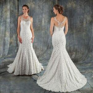 Berketex Ivory / almond lace wedding dress UK 16 - check measurements
